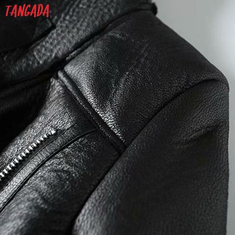 He25dc4d4b6304fa5984837361fb23585T Tangada Women beige fur faux leather jacket coat with belt turn down collar Ladies 2019 Winter Thick Warm Oversized Coat 5B01