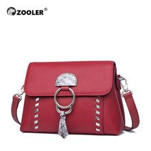 Luxury New Genuine Leather Bags ZOOLER Exclusive Designed Cow Leather Women Shoulder Bags Designer Red& Black Cross Body #LT239(China)