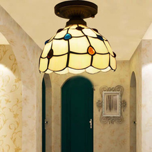 Artpad Vintage Retro Mediterranean Ceiling Lamps AC110V-220V Stained Glass Aisle Hotel Restuarant LED Balcony Lamp Lighting 20cmsky blue hot bending glass lamps tiffany balcony and kitchen aisle simple fashion the mediterranean lamp windows and balcony