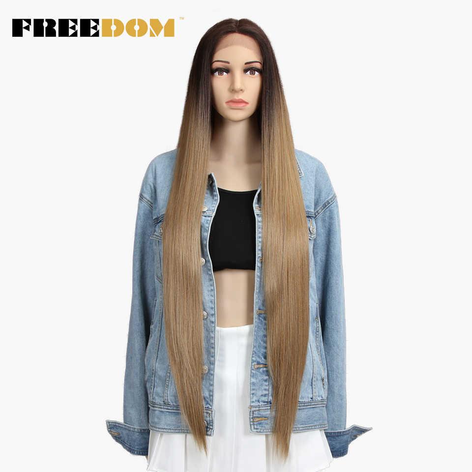 Wolność syntetyczna koronka peruka Front 38 cali głębokie część długie peruki z prostymi włosami Ombre Cosplay peruki syntetyczna koronka peruka dla czarnych kobiet