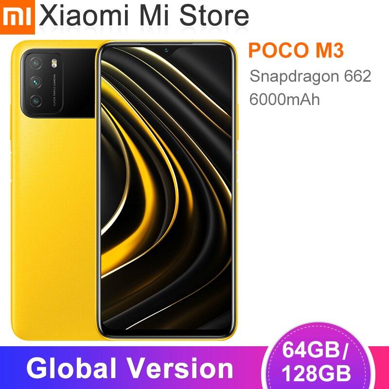 В наличии глобальная версия POCO M3 смартфон 4 Гб 64 Гб/128 ГБ Snapdragon 662 Octa Core 6000 мАч Батарея 48MP Камера Cellphon