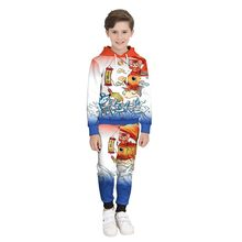 KANCOOLD youth lucky cartoon mouse carp print hooded long-sleeved sweater + gradient color matching trousers suit(China)