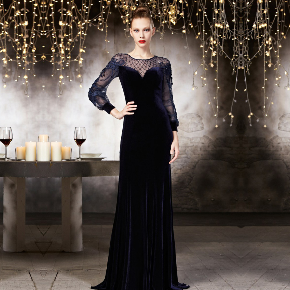 Custom Made Coniefox Dubai Formal Long See Through Robe De Soiree Velvet Woman Beaded Long Sleeve Mother Of The Bride Dresses