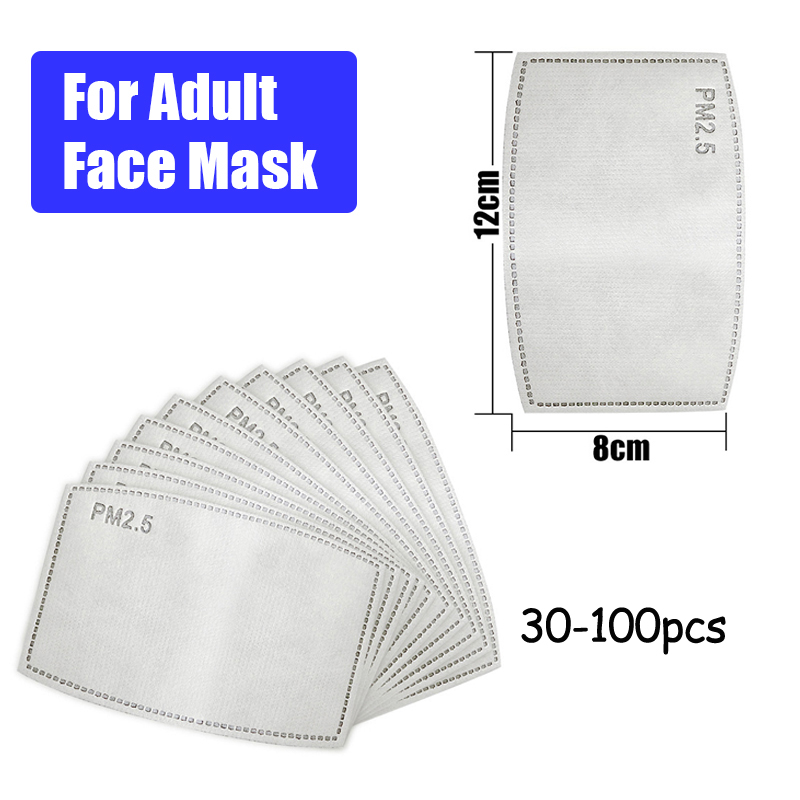 PM2.5 N95 Activated Carbon Filter Paper 30Pcs 50pcs/Lot 5 Layers For Mouth Mask Anti Dust Masks Health Care Insert