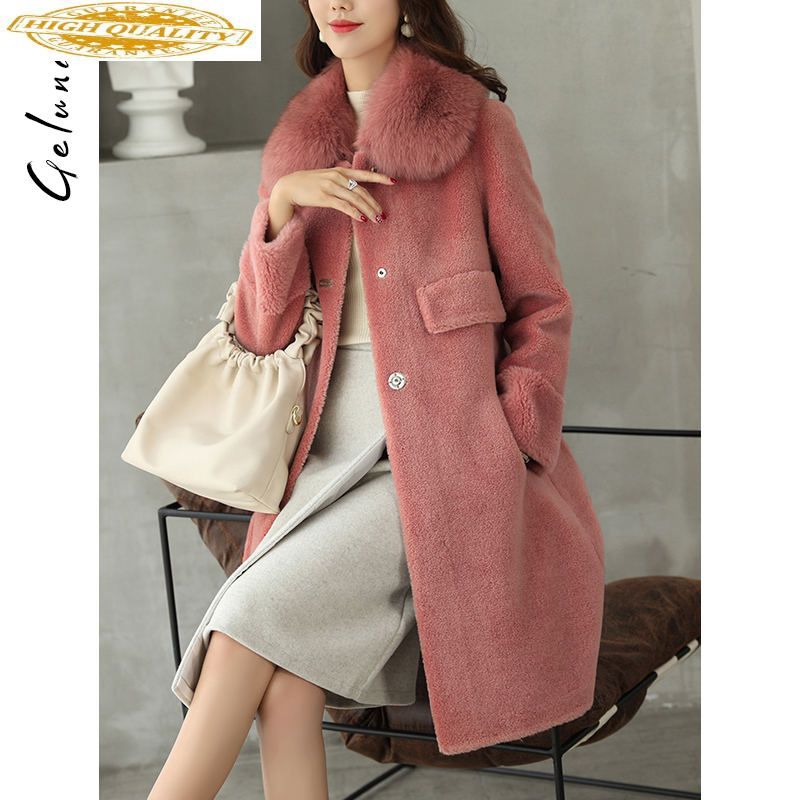2019 Real Sheep Shearling Fur Coat Female 100% Wool Coats Winter Jacket Women Fox Fur Collar Korean Long Jackets MY4168