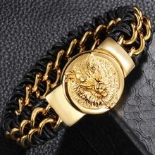 Accessoire de motard pour hommes, bijoux de luxe en or et en acier inoxydable, en cuir véritable et noir, tête de loup