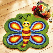 butterfly Hook Rug Kit Unfinished Crocheting Yarn Mat Latch Hook Rug Kit Floor Mat Santa Claus Picture Carpet Set(China)