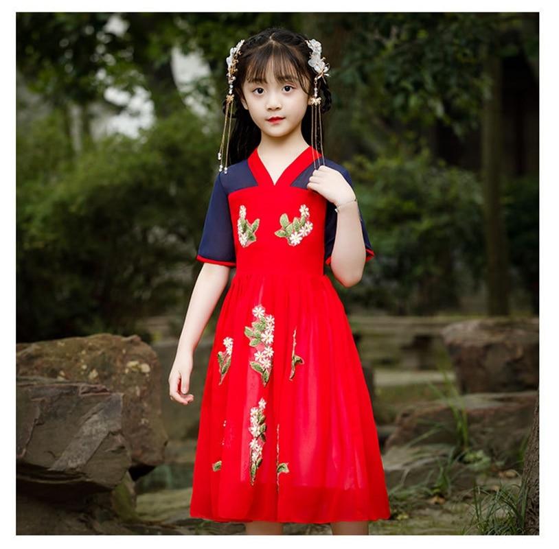 Red Chiffon Hanfu Girls Summer Dress Original Improved Retro Chinese Style Girls Dress Autumn National Style Show Photo Dress