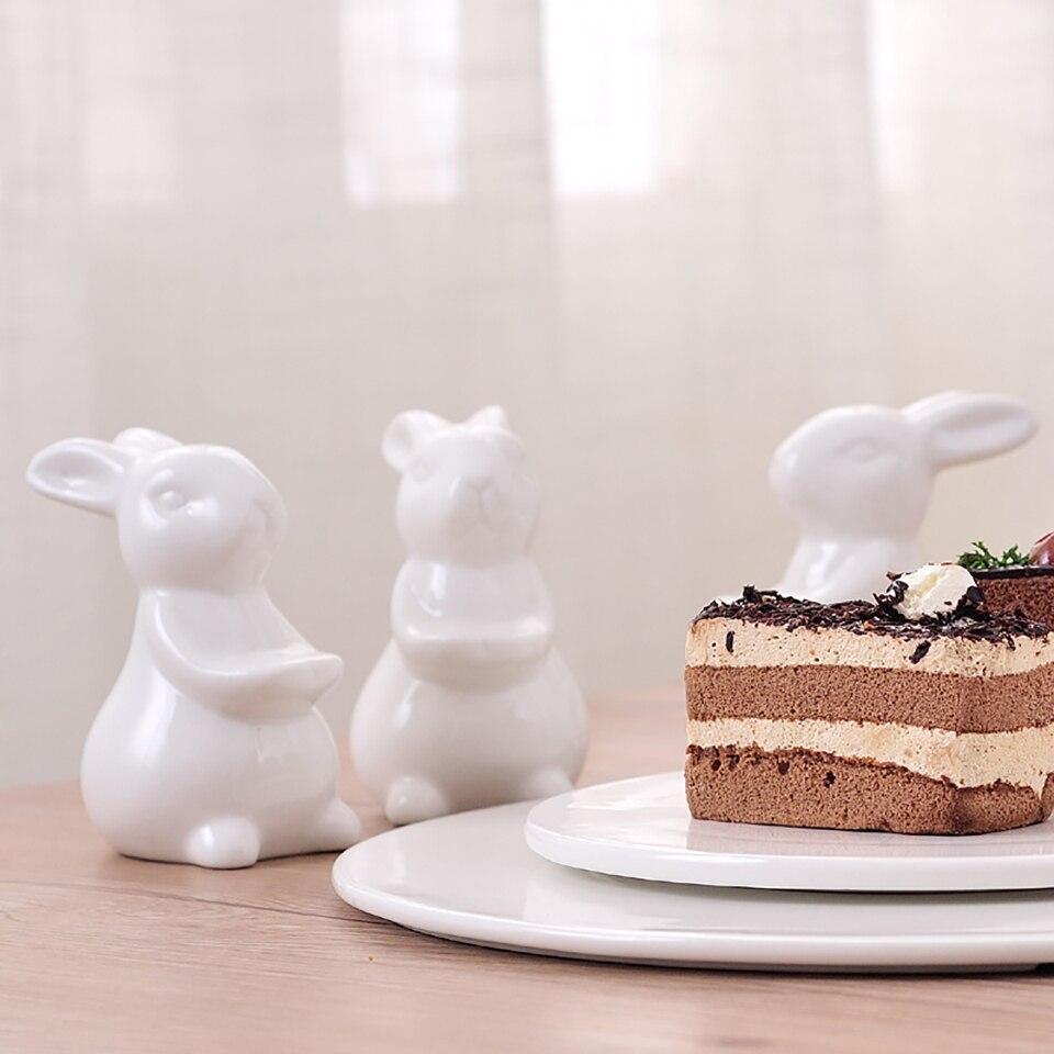 Керамический поднос с тремя кроликами для торта и фруктов, декоративный поднос с керамическим Банни, портретная тарелка для десерта, демонстрационный поднос для пищевых продуктов