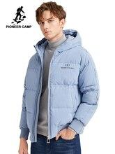 Pioneer camp moda męska długa kurtka puchowa na zimę jednokolorowy ciepły prosty wodoodporny kieszeń na suwak wysokiej jakości kurtki męskie AYR903431