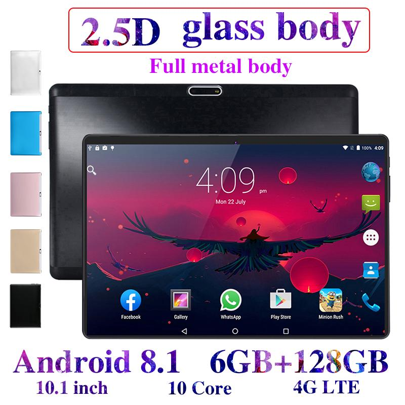 2020 New 10.1 Inch 6G+128GB Tablet Pc Android 8.0 Google Play 4G Call Tablets WiFi GPS 2.5D 1280x800 Tempered Glass Kids Tablet