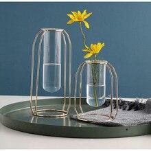 Nordic Lantern-Shaped Vase Luxury Glass Iron Art Test Tube Water Cult Planter Hydroponic Geometric Stand