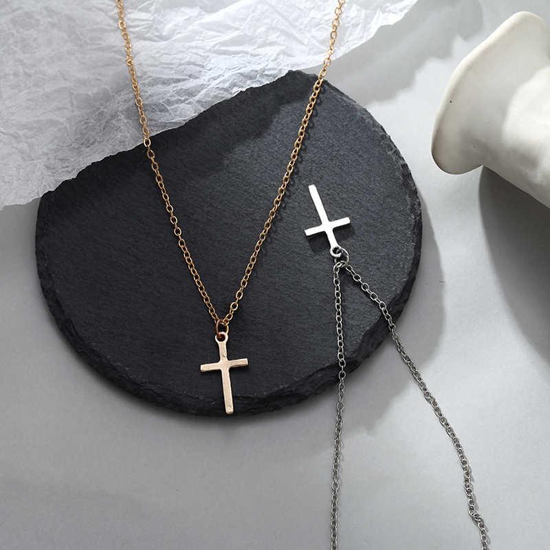 Nowy złoty i srebrny kolor krzyż naszyjnik, żeński, moda czeski styl prosty naszyjnik z wisiorkiem dziewczyny prezent biżuteria hurtownia