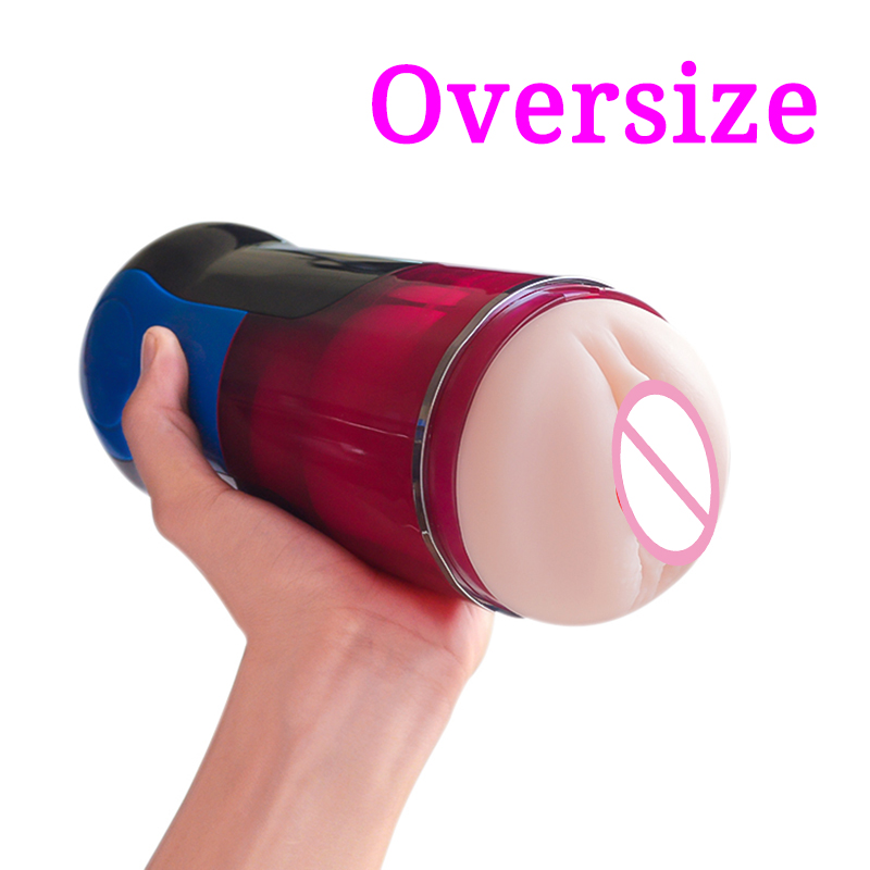 Oversize Masturbation Cup Vibrator Big Size Vagina Real Pussy Electric Male Masturbator Pocket Pussy Adult Sex Toys for Men in Masturbation Cup from Beauty Health
