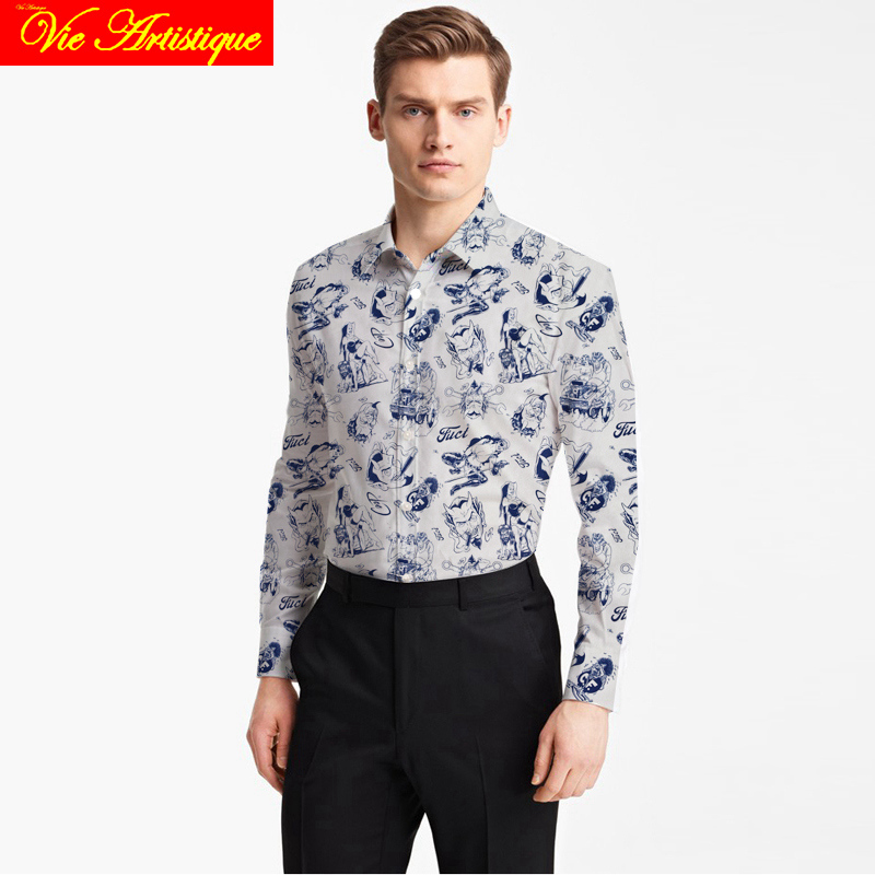 Custom Tailor Made Men's Bespoke Cotton Floral Shirts Business Formal Wedding Ware Blouse White Print Blue Comic Flower Fashion