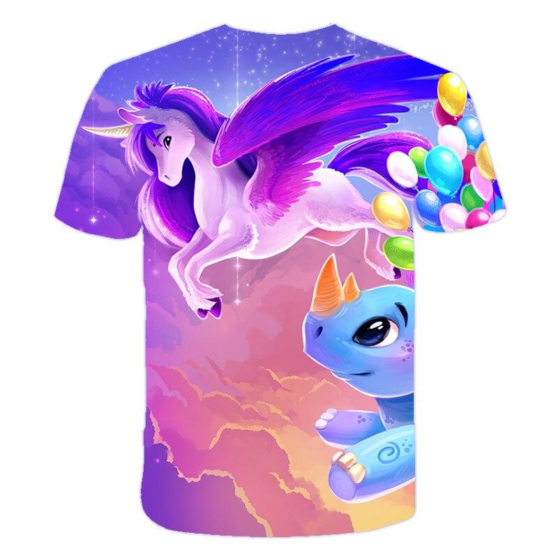 He25f72892af0497eb97059559a748199P Baby Girls T-shirt 4 5 6 7 8 9 10 11 12 13 14 Years Unicorn Kids T Shirt Children Clothes Summer Unicorn T shirts Girl s Tee