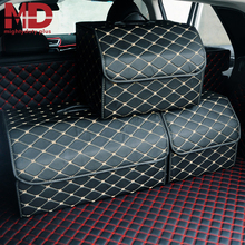 Car Trunk Storage Bag Organizer with Lid Collapsible Portable Car Storage Stowing Tidying PU Leather Auto Trunk Box Organizer