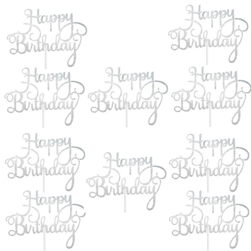 10pcs Gittler Happy Birthday Cake Topper Bling Sparkle Decoration Sign Happy Birthday Cake Topper Girl`s Birthday Dessert Decor 2
