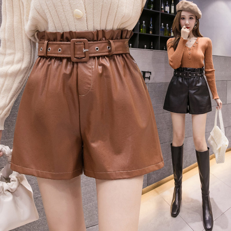 Plus Size 3XL PU Faux Leather Shorts Women High Waist Elastic Korean Style Bottom Female 2019 Autumn Winter Sashes Woman Clothes