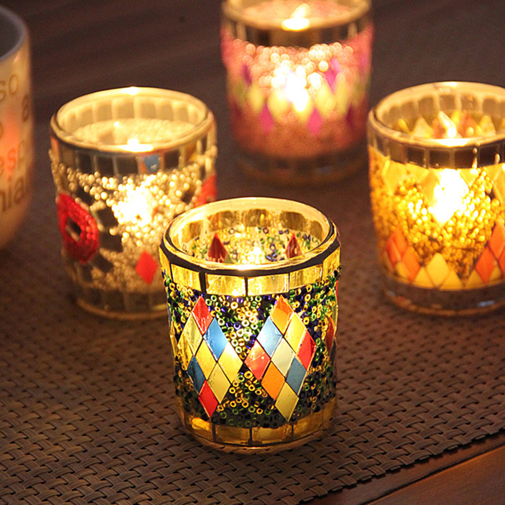 SOLUSTRE Mosaic Glass Candle Holder Romantic Nordic Glass Votive Tealight Holder Round Bowl Scented Candle Candlestick Centerpiece for Table Home Decor Without Candle Blue