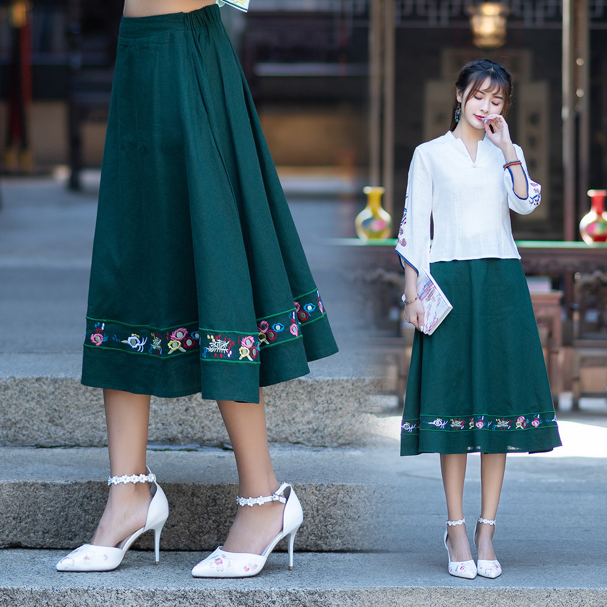 Sf06146 Feimina 2019 Autumn New Style Ethnic-Style Big Hemline Embroidery Skirt
