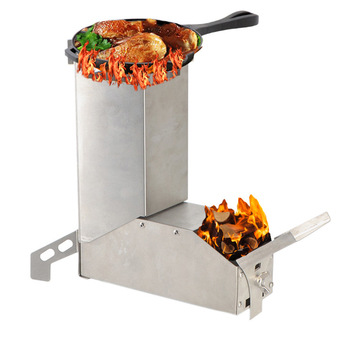 Outdoor Camping Stainless Steel Wood Burning Rocket Stove Foldable Wood Stove Outdoor Picnic Camping Equipment outdoor camping