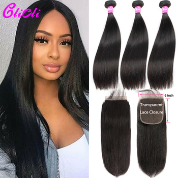 Peruvian Human Hair Bundles With Closure Straight Hair Bundles With Closure Remy 3 Bundles with 6x6 4x4 Transparent lace closure image