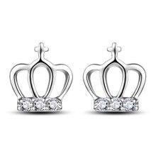 ModaOne Cute Fashion 925 Sterling Silver Crown Zircon Stud Earrings For Women Jewelry oorbellen pendientes real 925 sterling silver stud earrings for women girls sterling silver jewelry brincos oorbellen aros de plata 925