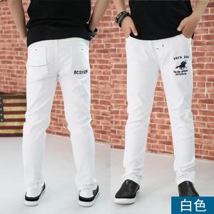 Image 1 - 4 12T ชายกางเกงสบายๆ 100% ฝ้ายตรงกางเกงสำหรับชายสีขาวเด็กกางเกงเด็ก 110  150 คุณภาพสูง