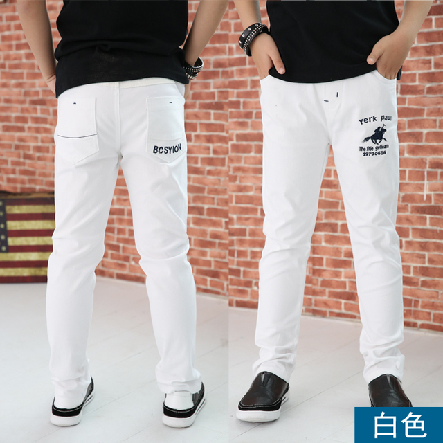 4 12T ชายกางเกงสบายๆ 100% ฝ้ายตรงกางเกงสำหรับชายสีขาวเด็กกางเกงเด็ก 110  150 คุณภาพสูง