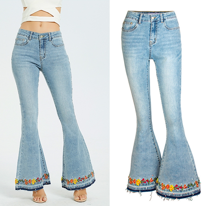 Spring Autumn Fashion Flare Jeans Women 3D Embroidered Women's Large Size Jeans New Women's Studded Denim Trousers Female K323