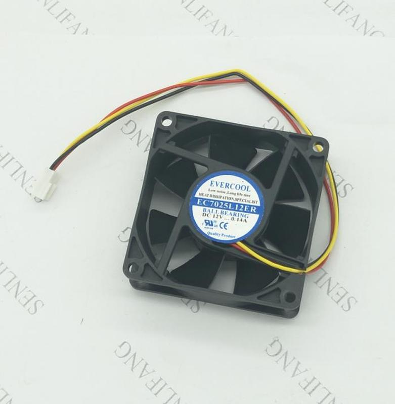 For 70mm Fan EC7025L12ER For EVERCOOL 7025 DC12V 0.14A Three-wire Silent Heat Dissipating Fan