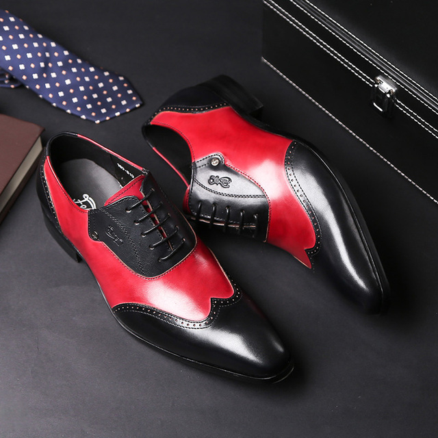 FELIX CHU Stylish Mens Formal Oxford Shoes Wingtip Genuine Leather Mens Wedding Party Black Red Pointed Toe Dress Shoes for Men