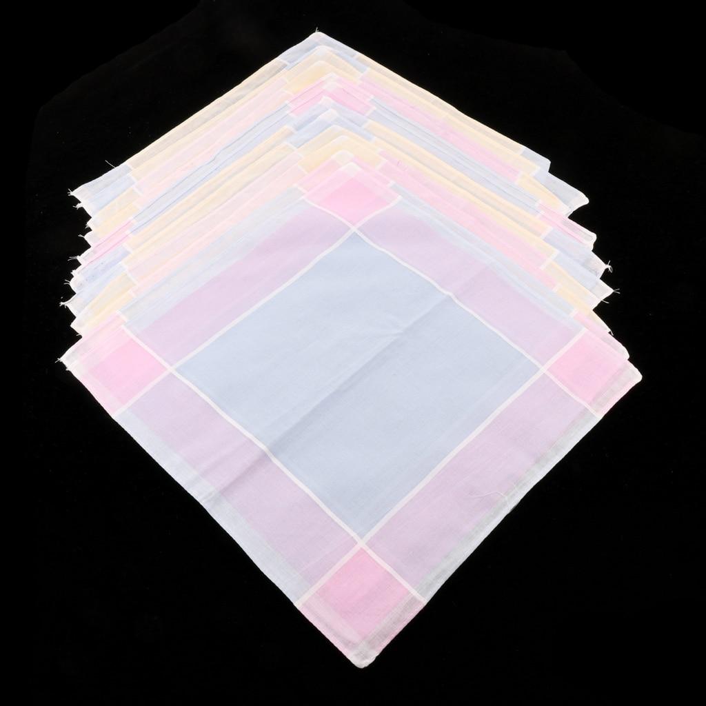 12 Pcs Soft Cotton Colorful Plaid Handkerchief Woman Pocket Square Classic Check Pattern Hankie 30 X 30cm