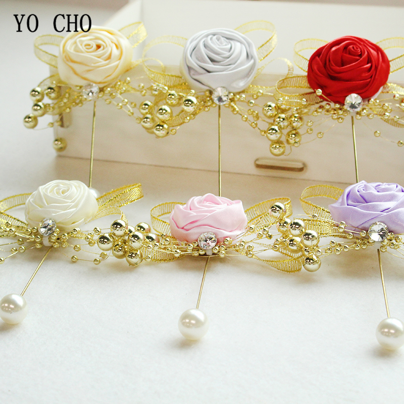 YO CHO Groom Boutonniere Flower Mens Corsage Brooch Fake Pearl Girl Corsage Wedding Planner Supplies Prom Party Meeting Decor