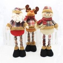Christmas Decorations Retractable Stand Figures 3pcs Santa Claus+Snowman+Elk Dolls Office Home Decoration Accessories