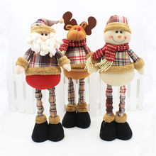 Christmas Decorations Retractable Stand Figures 3pcs Santa Claus+Snowman+Elk Christmas Dolls Office Home Decoration Accessories(China)