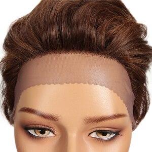 Image 5 - Truemeショートレースフロントかつらオンブルブロンド人毛ウィッグ女性色のブラジルミックスブラウン黒ピクシーカットレース人間のかつら