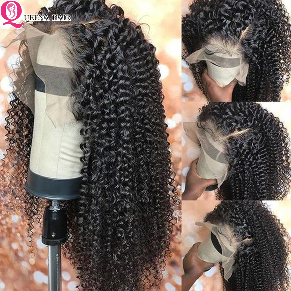 Wigs Lace-Front Human-Hair Curly Pre-Plucked Black Women Peruvian for 30 4x4 Closure