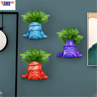 European Style Simulation FRENCH BULLDOG Resin Craftwork Stereoscopic Wall Hangings Vase Living Room Wall Art Decorations X2707