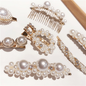 Chic Imitiation Pearl Crystal Hairpins Women Hair Accessories Geometric Round Flower Hair Clips Metal Hair Combs image