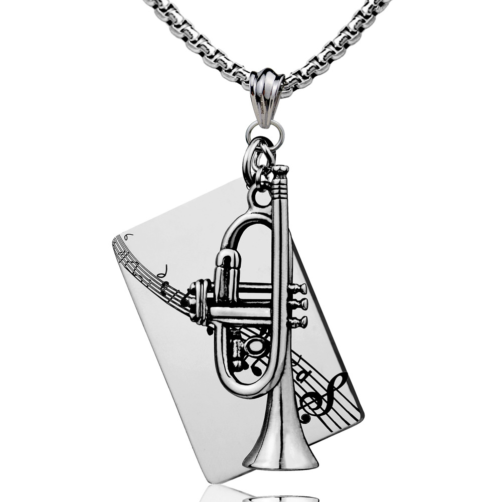 Trumpet Stainless Steel Necklace Rockers Jazz Band Pendant Music Jewelry