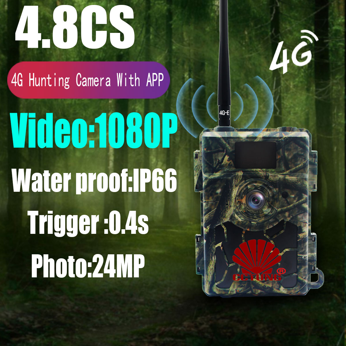 4.8CG 24MP 4G Trail Hunting Camera with Night Vision Infrared Scouting Waterproof For Outdoor Wildlife Monitoring by Mobile APP