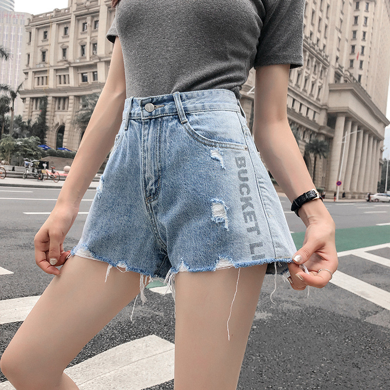 Women's Fashion Vintage Letter Print Ripped High Waisted Short Jeans Casual Wide Leg Woman Denim Shorts