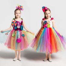 Girls School Performance Costumes Kids Rainbow Candy Knitting Dress Children Lollipop Modeling Tulle Ball Gown With Headband
