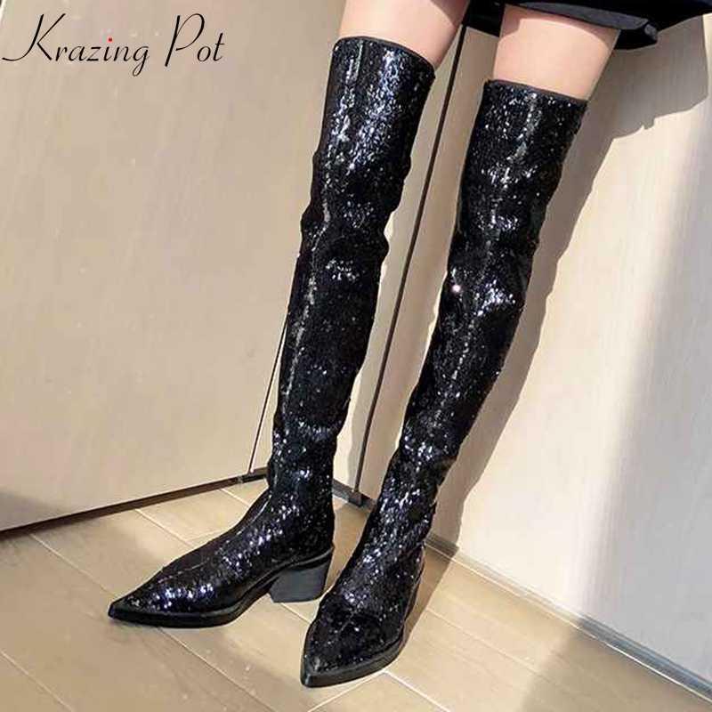 Krazing pot mikrofiber payetli kumaş bling sivri burun tutmak sıcak uzun çizmeler pist yüksek topuklu streç over-the- diz çizmeler l17