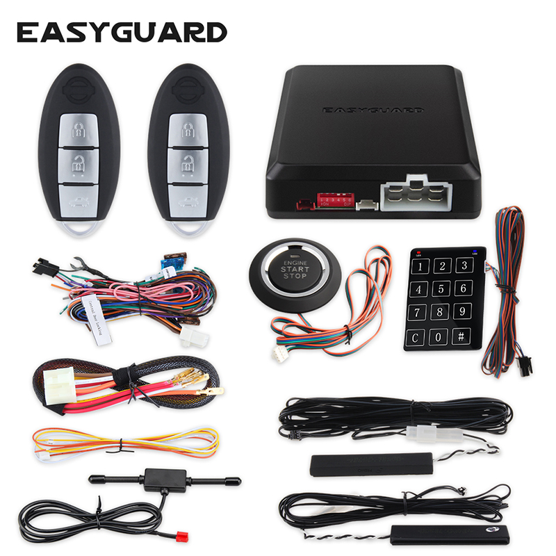 EASYGUARD PKE car alarm system with remote engine start stop auto passive entry system kit push