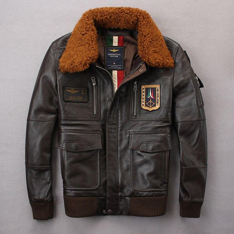 2020 Men A2 Pilot Jacket Tom Cruise Top Gun Air Force Cow Coats 100% Real Fashin Wool Multi-label Sheepskin Jackets Coat M-XXL
