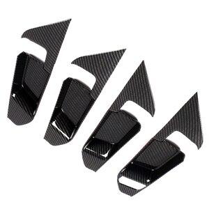 Image 4 - JEAZEA 4 قطعة ألياف الكربون ABS الداخلية مقبض داخلي إطار غطاء تقليم الديكور صالح لتويوتا RAV4 2019 اكسسوارات السيارات