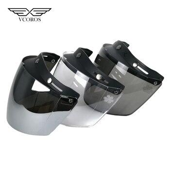 VCOROS Vintage Universal lente recta 3 Snap motocicleta Visor protector burbuja casco clásico Scooter lentes Retro escudo gafas